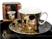 CARMANI Art Collection  Porcelain Cup with saucer decorated with Klimt: The Kiss